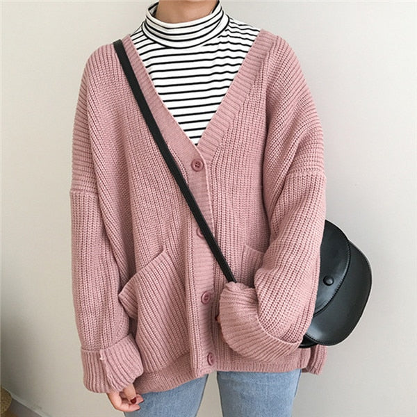 2019 Double Pocket Design Female Knitted Cardigan - Phantom Attraction