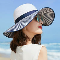 2019 Wind Black White Striped Bowknot Summer Sun Hat - Phantom Attraction
