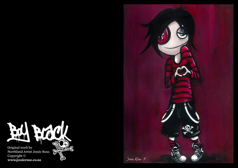 Boy Black Greeting Cards - Emo Love