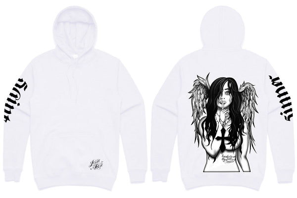 30% discount on white items at checkout!! Fallen Angel Hoodie (unisex pullover hood)