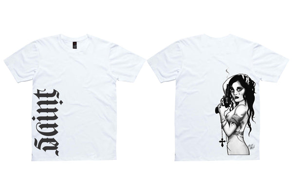 Saints & Sinner Tees - Side gun