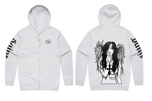 30% discount on white items at checkout!! Fallen Angel Women's Zip-Up Hoodie