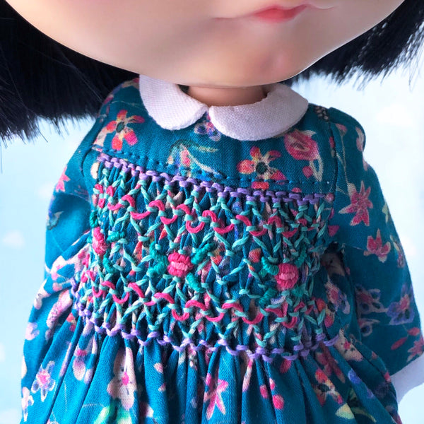 Blythe Neo Doll Handsmocked Smock dress Liberty fabric