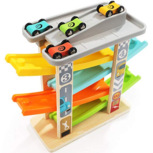 TOP BRIGHT Car Toys for 1 2 Year Olds Toddler Games Boy Gifts - Car Ramp  Race Track Vehicle Playsets with 4 Wooden Cars & Garage: Toys & Games