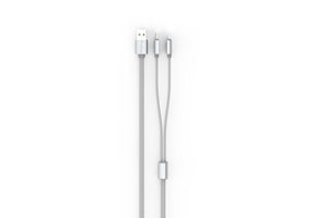 Proline Premium Dual Micro/Iphone USB Cable 3.5FT Silver - Prepaid Masters