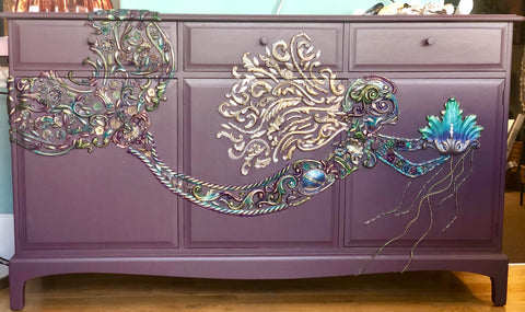 Stunning hand painted unique Mermaid ONE OF A KIND Stag 3 door 3 drawer sideboard. - Home Revival - Fusion Mineral Paint UK