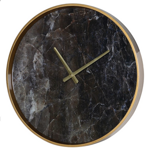 Black Marble Effect Wall Clock