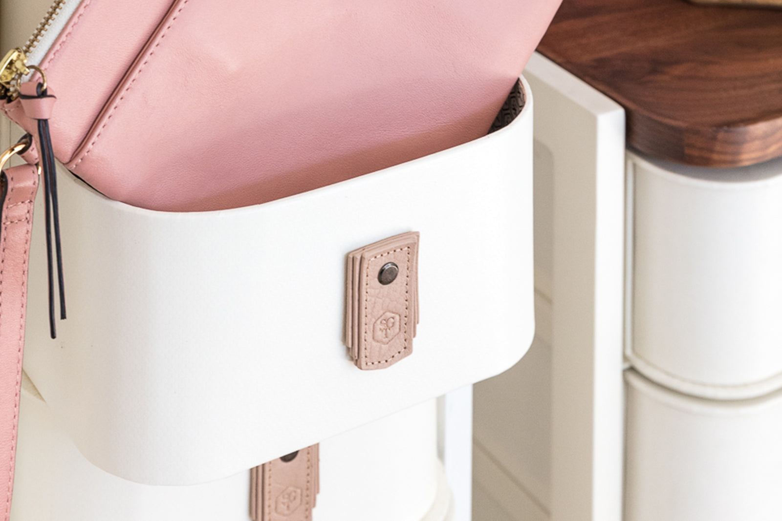 Monogrammed Leather Pull - Blush