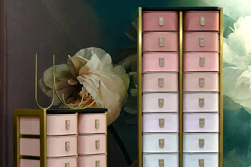 Shanghai 14 Box Stand - Brass & Rose