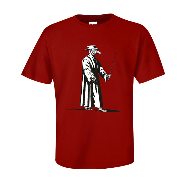 Unisex Summer O-neck T-shirt Plague Doctor Printed Casual Street Shirts Red