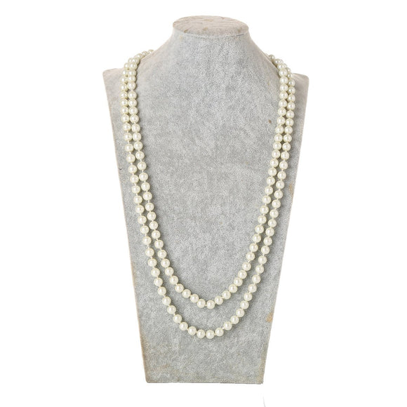 1920s Flapper Girl Great Faux Pearls Flapper Beads Cluster Long Necklace Jewelry-Fandomsky