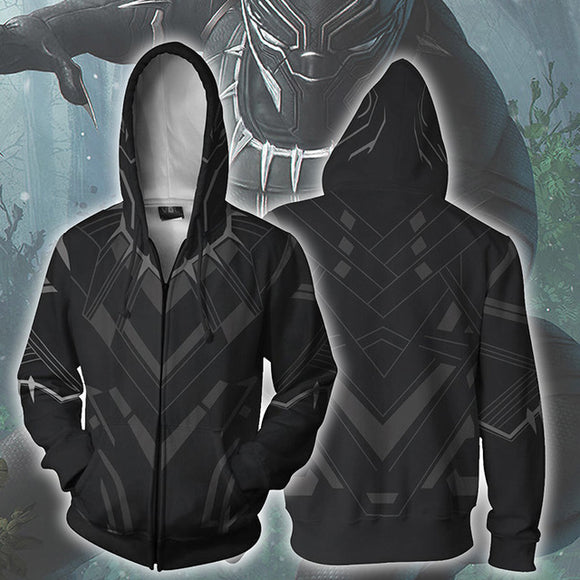 3D Print Black Panther Men's Pullover Hooded Sweatshirt Hoodies with Big Pockets-Fandomsky
