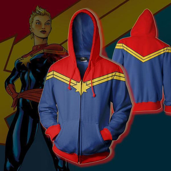 Avengers Captain Marvel Pullover Hoodie Hooded Sweatshirt Costume-Fandomsky