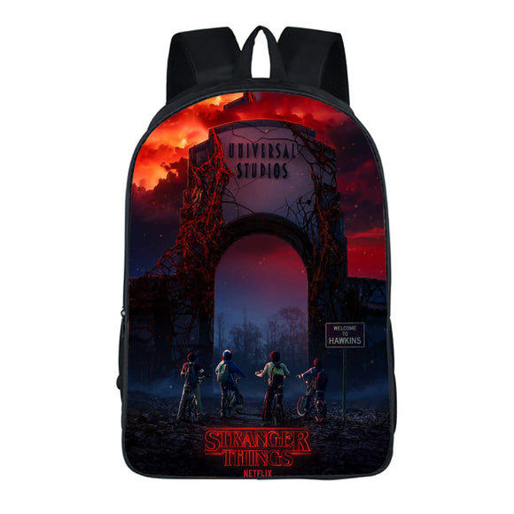3D Print Stranger Things Universal Studios Backpack School Bag Teens-Fandomsky