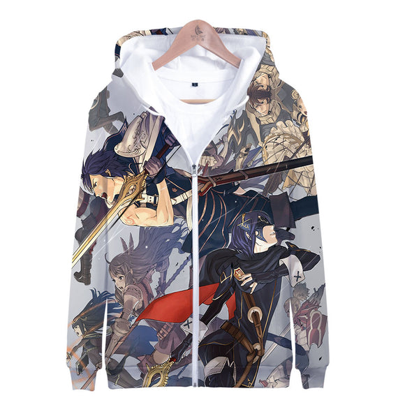 3D Unisex Hoodies Print Sweatshirts Coat Tops Zip-up Pullover Fire Emblem