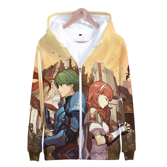 3D HD Unisex Hoodies Print Sweatshirts Coat Tops ZIip-up Pullover Fire Emblem-Fandomsky