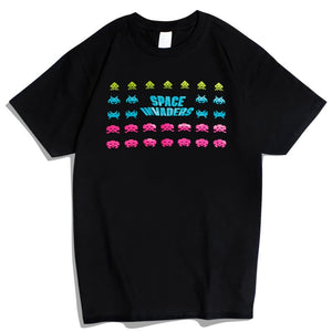 Space Invaders Colours Casual Short Sleeve T-Shirt-Fandomsky
