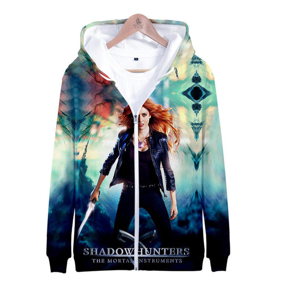 Unisex Shadowhunters Hoodies Long Sleeve Autumn Winter Sweatshirts Zip Up Clothes Tops