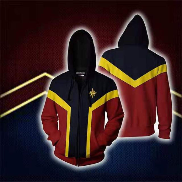 Avengers Captain Marvel Hoodie Hooded Sweatshirt Pullover Costume-Fandomsky