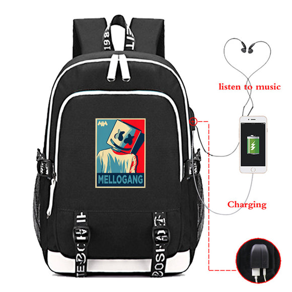 DJ Marshmello Backpack School Bags Daypack USB Chargeing Port Laptop Bag Handbag with Anti-Theft Lock, Travel Bag Backpack-Fandomsky