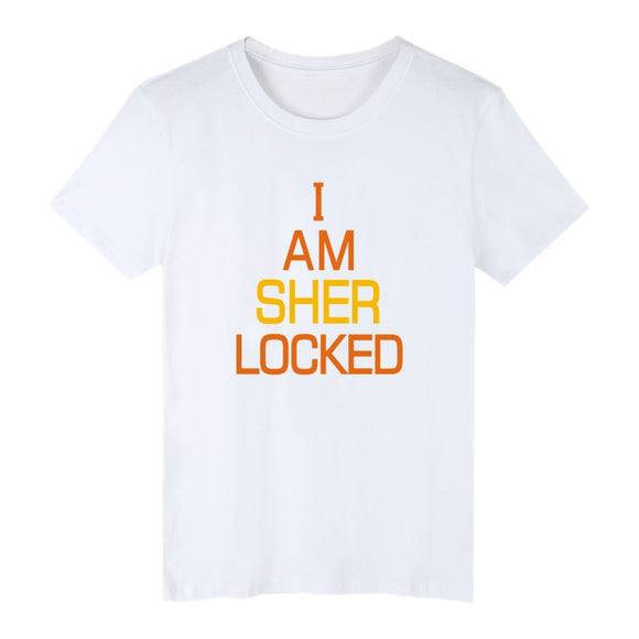 Sherlock Holmes I Am Sher Locked T-Shirt Short Sleeve Casual 2 Styles-Fandomsky