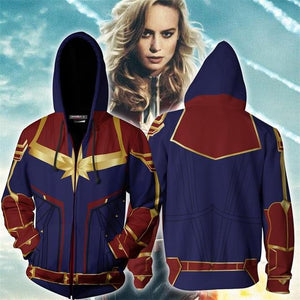 Avengers Captain Marvel Hoodie Hooded Sweatshirt Pullover Cosplay Costume-Fandomsky