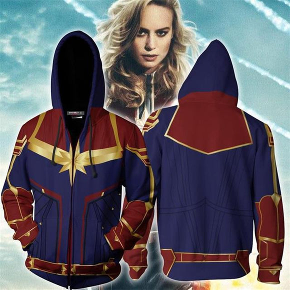 Avengers Captain Marvel Hoodie Hooded Sweatshirt Pullover Cosplay Costume