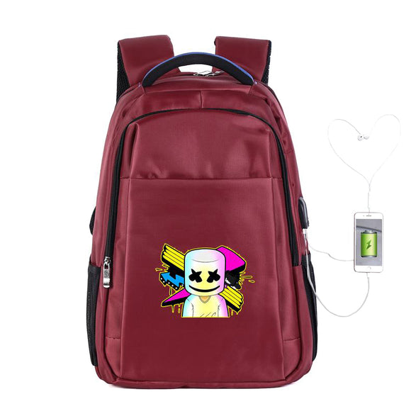 DJ Marshmello Backpack Travel Bag Bookbag, Unisex Fashion College School Bookbag Daypack Laptop Backpack with USB Charging Port-Fandomsky