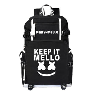 Teen DJ Marshmello Shoulder Bag Backpack Keep It Mello Printed Unisex Rucksack Student Satchel-Fandomsky
