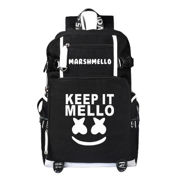 Teen DJ Marshmello Shoulder Bag Backpack Keep It Mello Printed Unisex Rucksack Student Satchel