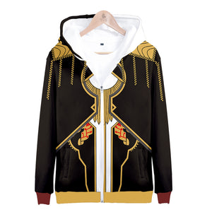 Unisex Fire Emblem Arvis Hoodies Zip Up 3D Print Jacket Sweatshirt Halloween Cosplay Costume Coat