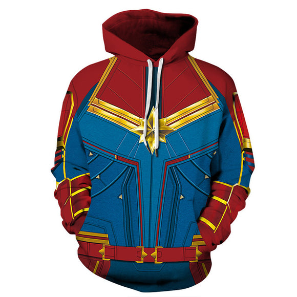 Avengers Captain Marvel Hooded Sweatshirt Pullover Hoodie Cosplay Costume 2 Colors-Fandomsky
