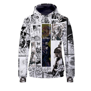 Anime JoJo's Bizarre Adventure Hoodie Sweatshirt Zip-up Jacket Costume Fleeces Adult Cosplay-Fandomsky