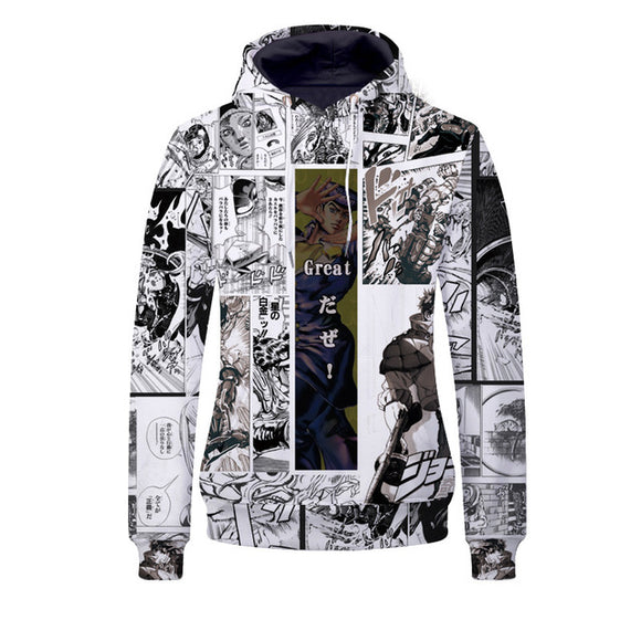 Anime JoJo's Bizarre Adventure Hoodie Sweatshirt Zip-up Jacket Costume Fleeces Adult Cosplay