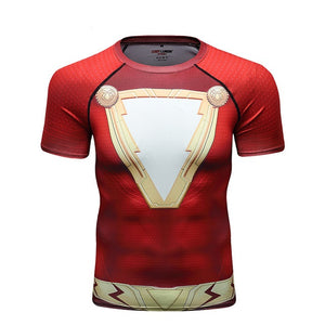 Shazam Compression Sport T-Shirt Fitness Tee Gym Running Cycling Top