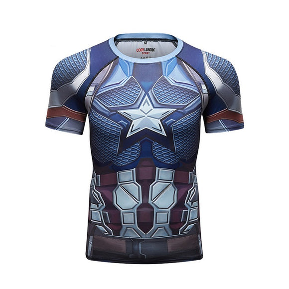 Captain America Compression Sport T-Shirt Fitness Tee Gym Running Cycling Top-Fandomsky