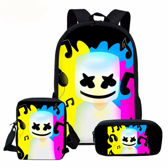 DJ Marshmello 3 Pieces Set 17'' Laptop Backpack + Crossbody Bag + Pencil Case School Bag Travel Daypack For Boys Girls-Fandomsky
