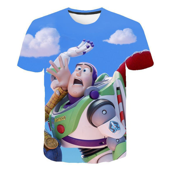 Toy Story Woody Buzz Lightyear Print 3D T-Shirt Casual T-Shirt