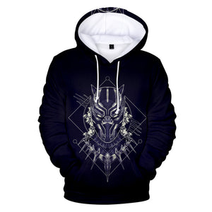 Black Panther 3D Print Pullover Hooded Sweatshirt Men's Hoodies with Big Pockets