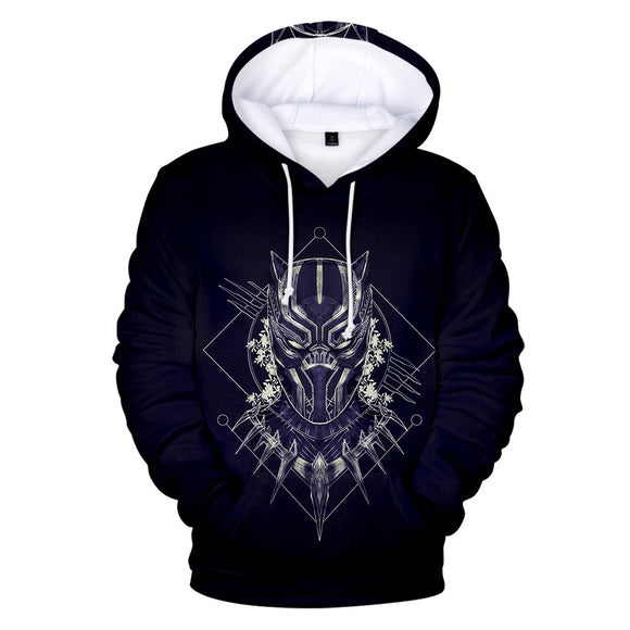 Black Panther 3D Print Pullover Hooded Sweatshirt Men's Hoodies with Big Pockets-Fandomsky