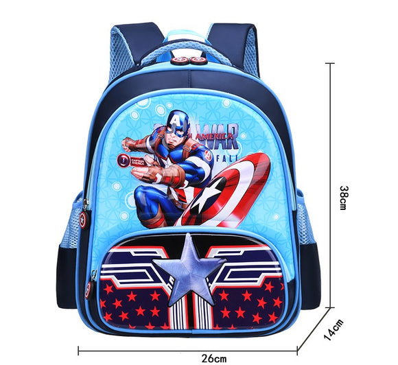 3D Print School Bag Kids Captain America Light Cartoon Casual Backpack-Fandomsky