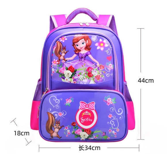 3D Print School Bag For Kids Sophia Light Cartoon Casual Backpack 2 Colors-Fandomsky