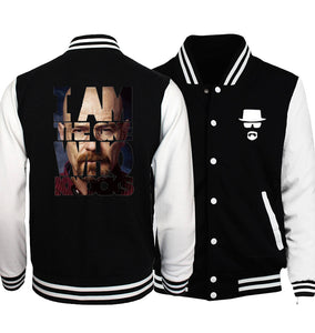 Breaking Bad Mens & Womens Fashion Hoodie Baseball Uniform Jacket Sport Coat Black-Fandomsky