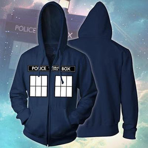 Doctor Who Call Box Window Adult Zip Hoodie-Fandomsky