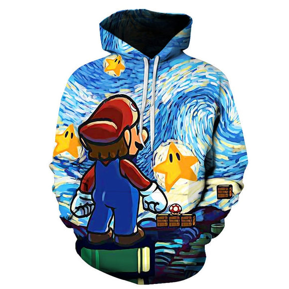 3D Print Unisex Super Mario Cartoon Hoodie Hooded Jacket-Fandomsky