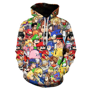 Super Mario Unisex 3D Print Cartoon Hoodie Hooded Jacket-Fandomsky