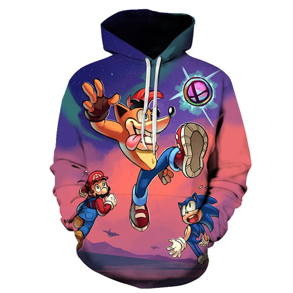 Super Mario 3D Unisex Print Cartoon Hoodie Hooded Jacket-Fandomsky