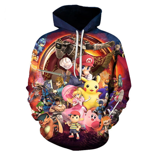 Super Mario Unisex 3D Print Cartoon Hoodie Hooded Sweatshirt-Fandomsky