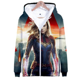 3D Print Avengers Captain Marvel Hoodie Hooded Sweatshirt Pullover Costume-Fandomsky