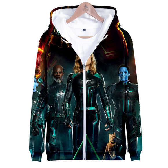3D Print Avengers Captain Marvel Pullover Hoodie Hooded Sweatshirt Costume